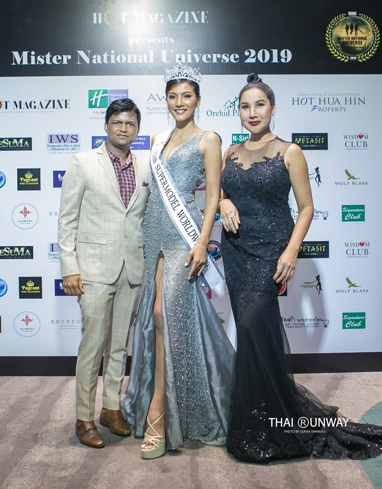 Sandeep Kumar with Miss Supermodel Worldwide 2019, Rafha Khongngam and Tanya V in Thailand.
