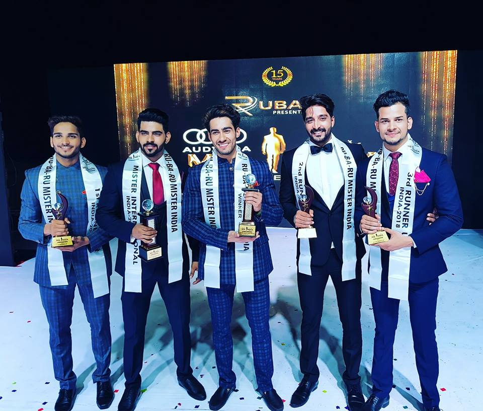 Audi Goa Rubaru Mr India 2018 titleholders. (From left to right) Audi Goa Rubaru Mr India (1st Runner up), Dilip Patel; Audi Goa Rubaru Mr India International, Balaji Murugadoss; Audi Goa Rubaru Mr India, Suraj Dahiya; Audi Goa Rubaru Mr India (2nd Runner up), Kamlesh Solanki and Audi Goa Rubaru Mr India (3rd Runner up), Gaurav Sharma.